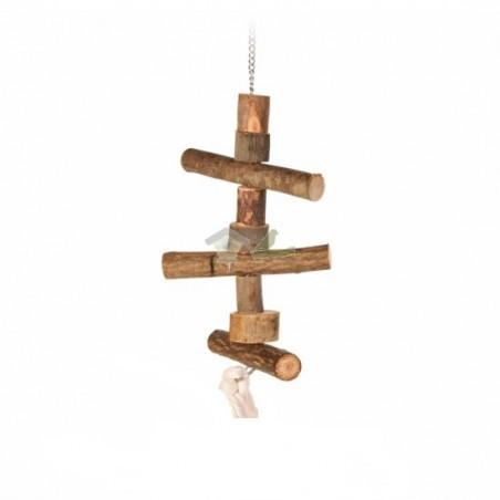 Percha colgante, tronquitos madera, cuerda, 40 cm
