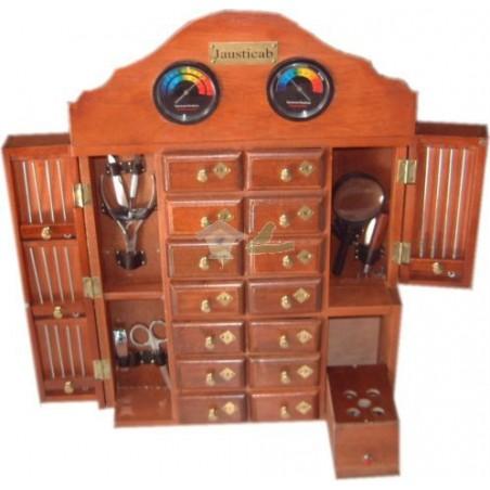 Mueble de madera artesanal con 14 cajones y accesorios