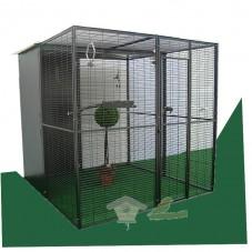 Voladero de loros de 2 x 2 techo mixto (dos aguas y malla)