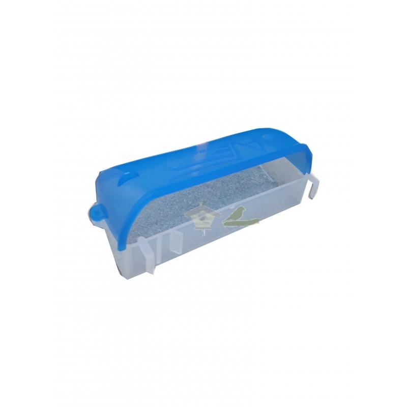 comedero doble transparente tapa azul